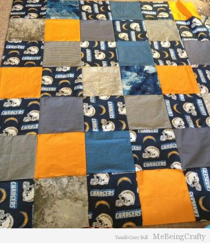 Chargers Quilt - not yet quilted here