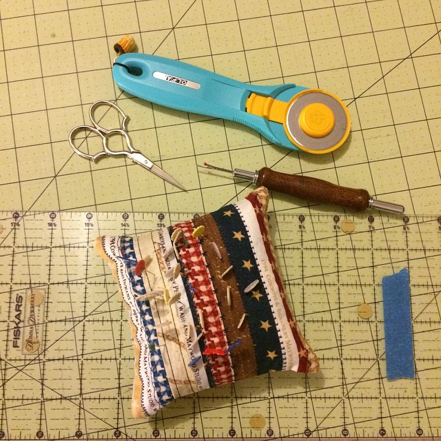 Fave notions! At least lately - pins, ruler, small scissors, rotary cutter. #soakphotochallenge