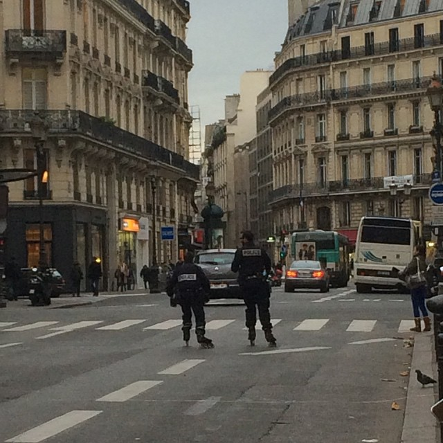 Watch out for the Paris police, this is how they roll. This is how they do. ??