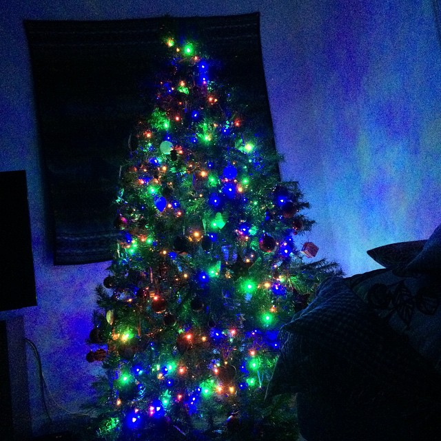 Keeping the blinds closed makes the room stay dark, the only light is the Christmas tree.